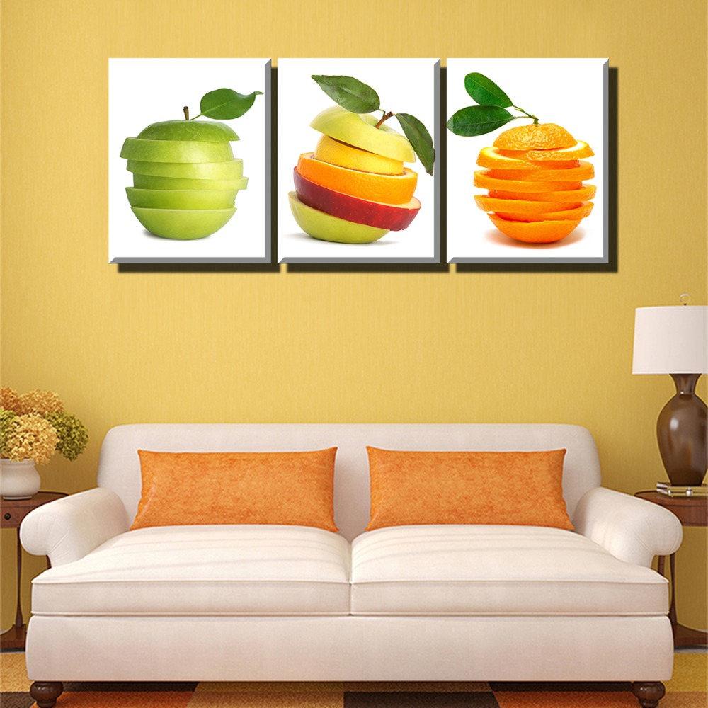 3PC Wall Art Original Fruit Apple and Pears Oil Painting Sale ...