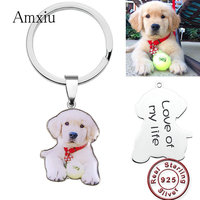Amxiu DIY 925 Sterling Silver Key Chains Custom Dog Cat Photos KeyChains Engraved Name Date Keychain For Women Men Special Gift