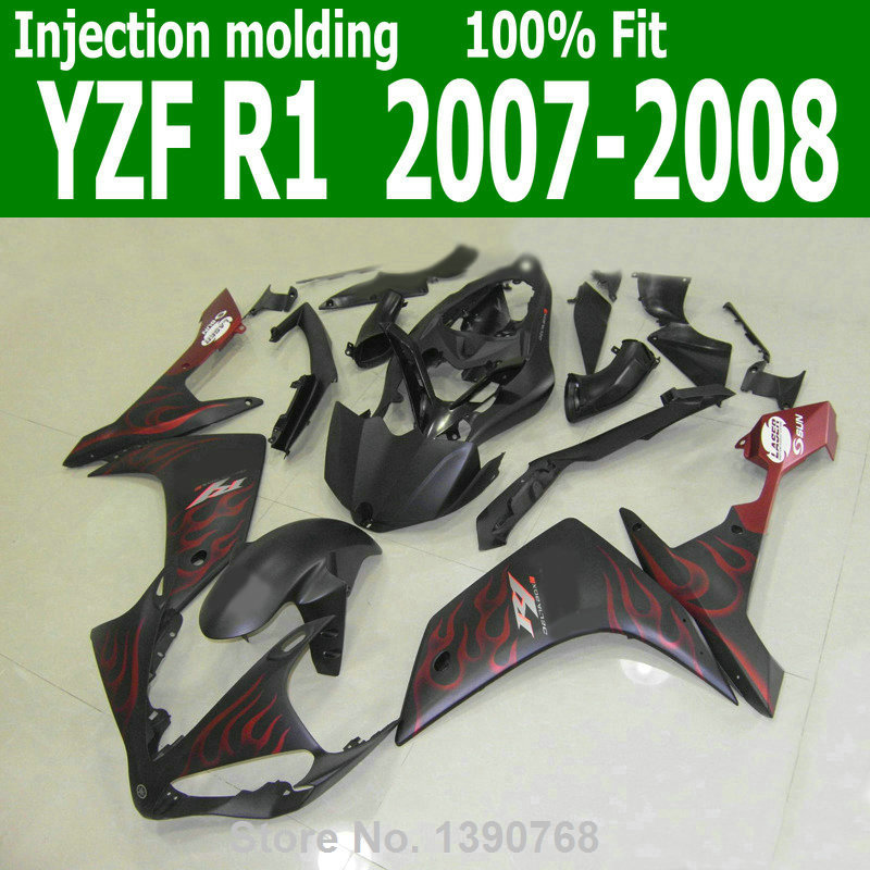 Mix customize Fairings For YAMAHA YZF R1 07 08 ( Matte black + red flames ) 2007 *2008 Abs Injection fairing kit lx20