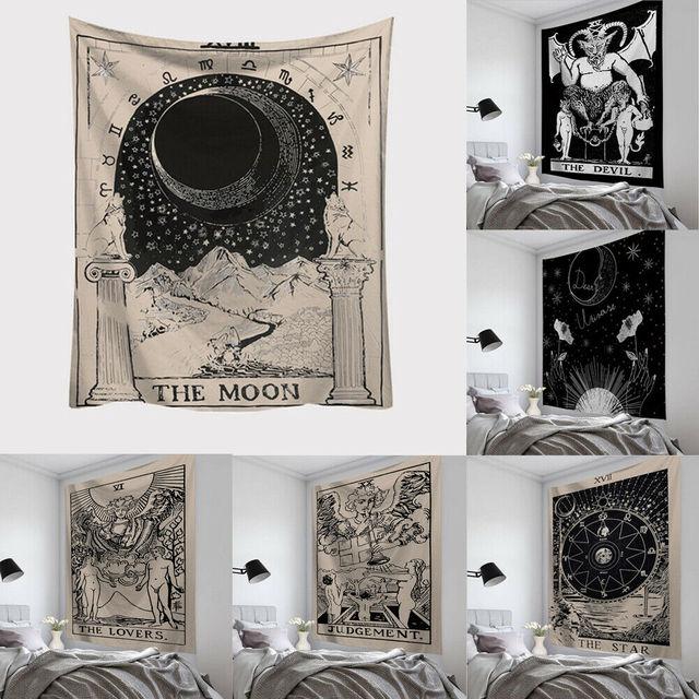Tarot Gantung Permadani Sun Star Moon Permadani Hippie Wall Hanging Selimut Dinding Karpet Yoga Mat Dekorasi Rumah Seprai Pantai Mat