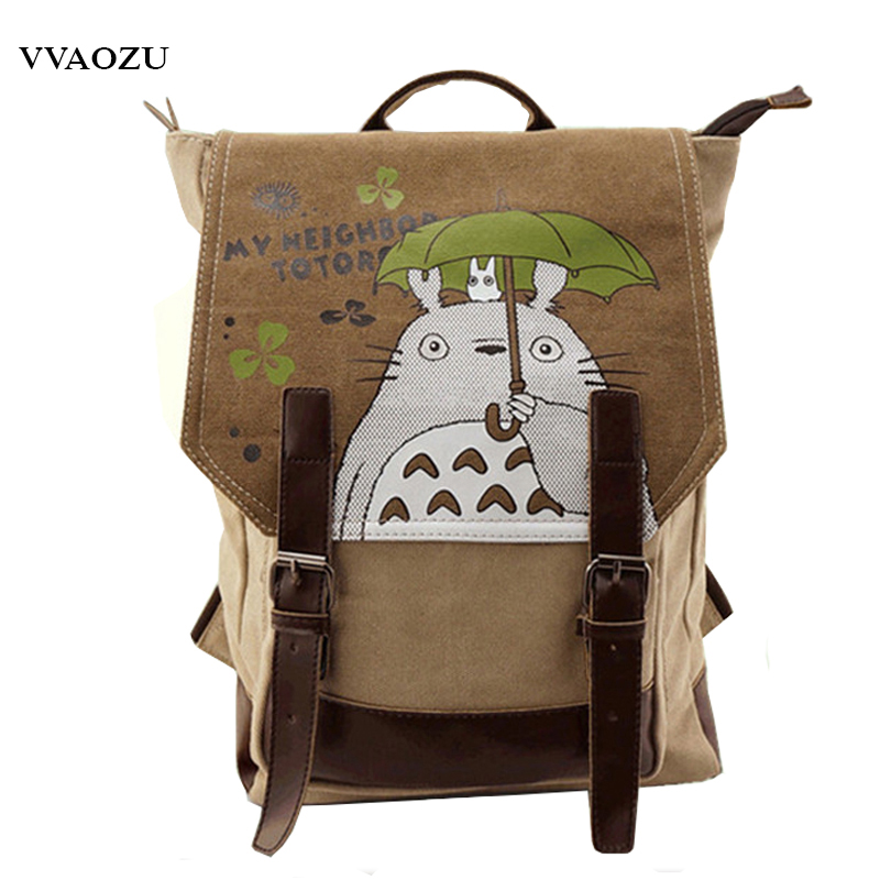 My Neighbor Totoro Backpack Shoulder Bag Cartoon Embossing Leather Decorated Cosplay School Backbag Mochila Feminina