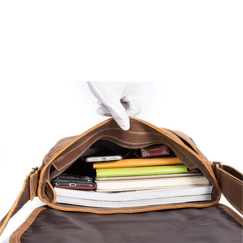 Мужская сумка мессенджер из натуральной кожи Crazy Horse Сумка через плечо мужская винтажный портфель для деловых путешествий роскошная сумка - 5