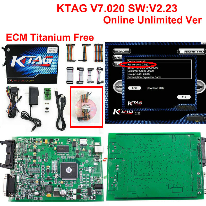 Цена за DHL бесплатно KTAG 7.020 Чип ECU Тюнинг k тег V7.020 V2.23 мастер версия для автомобиля грузовик KTAG Инструмент программирования ECU ECM как подарок