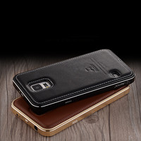 Original IMatch Luxury Genuine Leather Back Cover Protective Aluminum Metal Bumper Case For Samsung Galaxy S5