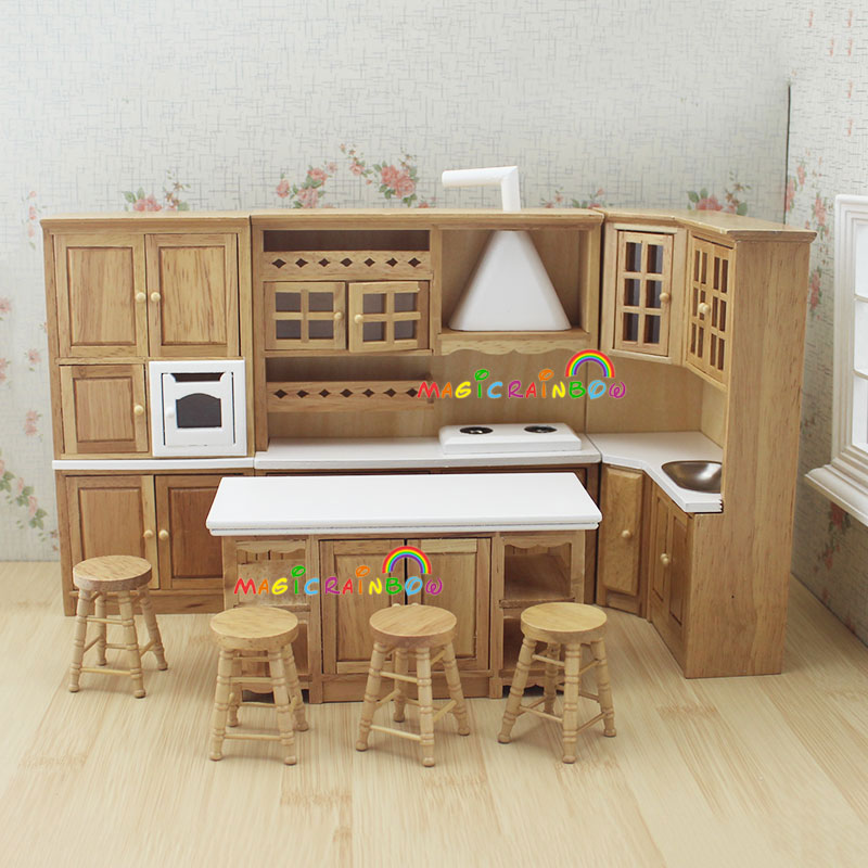 Captivating Doll House Kitchen Furniture Wooden Toys Cabinet Range Hood Sink Chiars Set 1  12 Scale Dollhouse Miniatures In Kitchen Toys From Toys U0026 Hobbies On ...