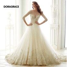 New Arrival Exquisite Applique Tulle A Line 3/4 Sleeve Wedding Dresses Designer Gowns DG0074