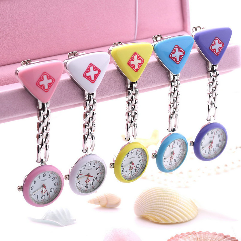 1PC Hot Sale 2019 Clip Nurse Doctor Pendant Pocket Quartz Red Cross Brooch Nurses Watch Fob Hanging Medical Reloj Pink Blue Whit