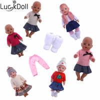 Luckdoll Clothes knit shirt 7pcs / style suitable for 43 cm baby doll accessories   children Christmas gift for selec n966-n1486