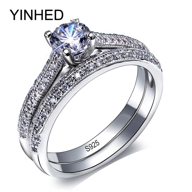Yinhed Brand Bridal Wedding Ring Set Solid 925 Silver 1 Carat Round Zircon Cz Engagement Rings