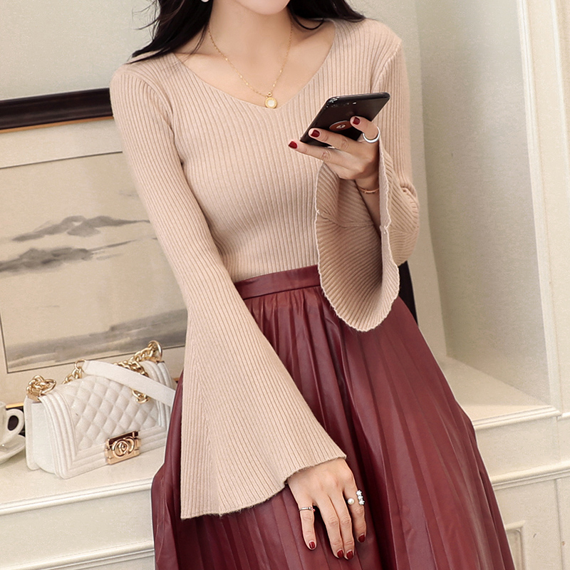 Fashion Women Autumn Winter Knitted Sweaters Sexy V Neck Flare Sleeve Solid Slim Knitwear Pullovers Sueter Mujer