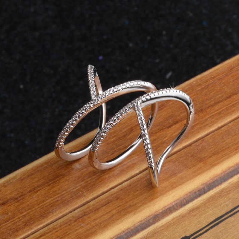ออกแบบพิเศษ Charm สัญญาแฟชั่น Twisted Elegant Twist แหวนผู้หญิงเต็มรูปแบบ Shiny Cz 925 เงิน