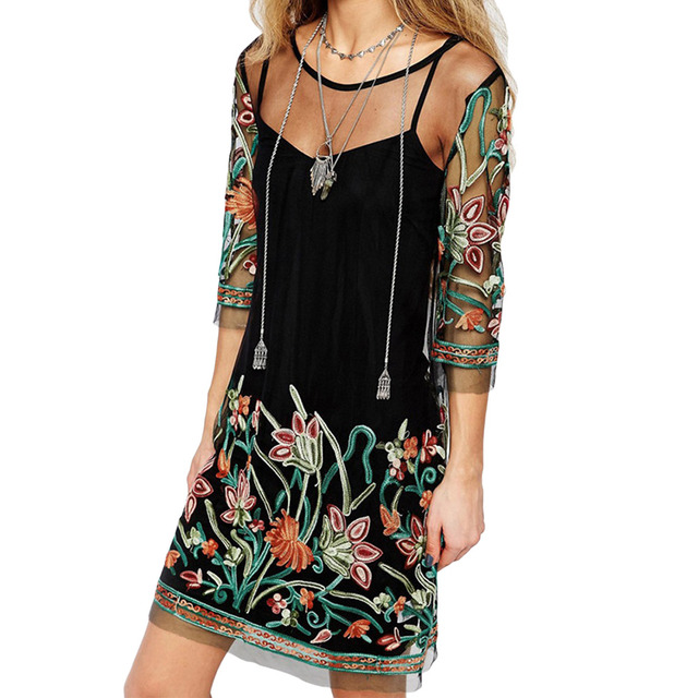 Boho Floral Embroidery Sheer Dress Women Sexy Flower Mesh Plus Size