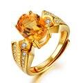 2.7ct Овальный Природный Цитрин Обручальные Кольца для Женщин Роскошные 18 К Желтый Цвет Золота Обручальное кольцо Стерлингового Серебра 925 Ювелирных Изделий кольцо
