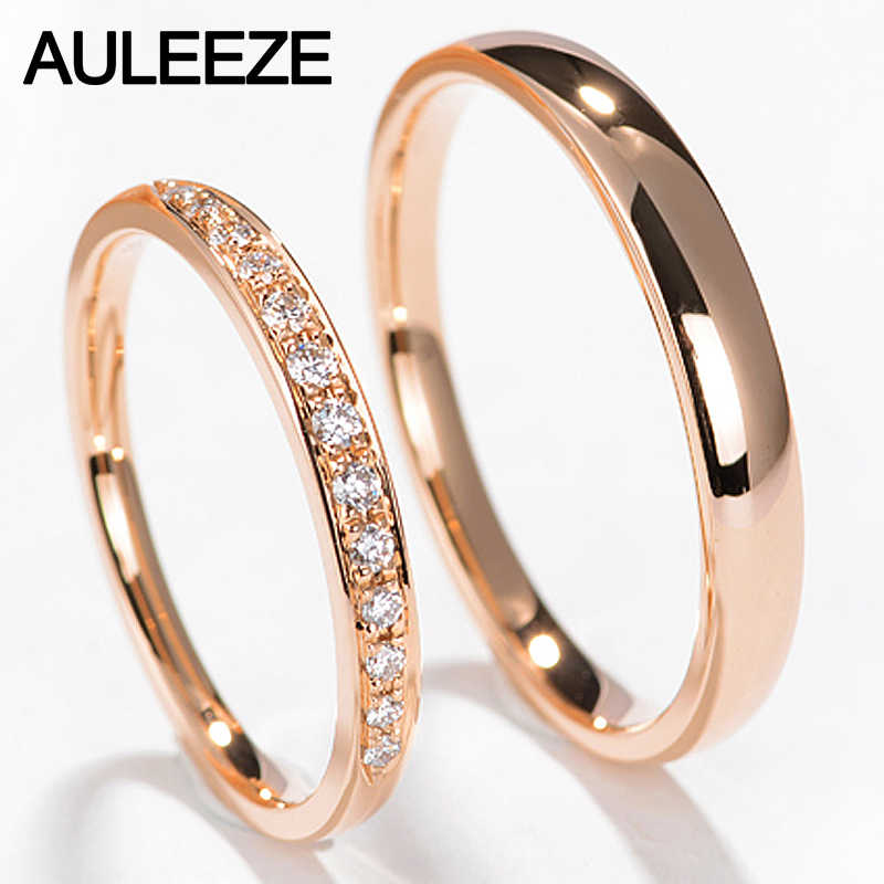 Auleeze Natural Diamond Couple Rings For Lovers Solid 18k Rose