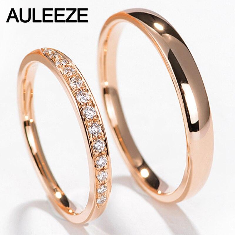טבעות זוג לאוהבים AULEEZE טבעי יהלומים מוצק 18 K רוז זהב חתונת להקות לנשים וגברים תכשיטי יהלומים מתנה
