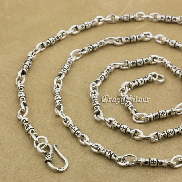 925 Sterling Silver Vajra Dorje Cross Biker Rocker Punk Necklace 9P014 From 18~36 Inches Available