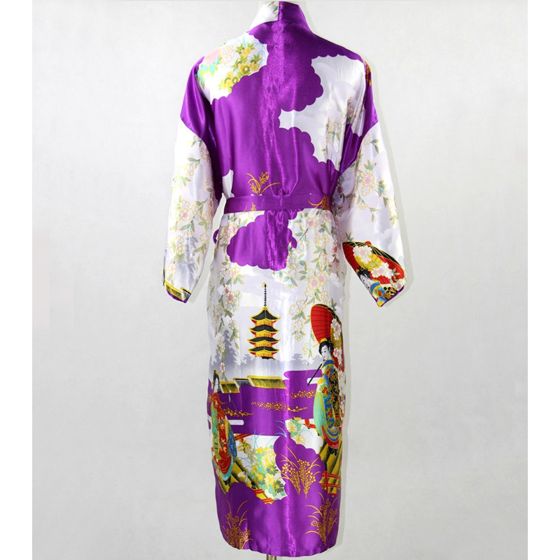 Purple Fashion Chinese Womens Polyester Satin Painted Kaftan Peri Kimono Bath Robe Gown Bathrobe With Belt Plus size M-XXXL