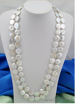 "tractive 50""15mm coin white freshwater pearl necklace>Lovely Women's Wedding Jewelry Pretty"