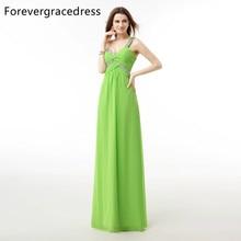 Forevergracedress 실제 사진 라인 이브닝 드레스 저렴한 민소매 한 어깨 크리스탈 긴 공식 파티 가운 플러스 크기