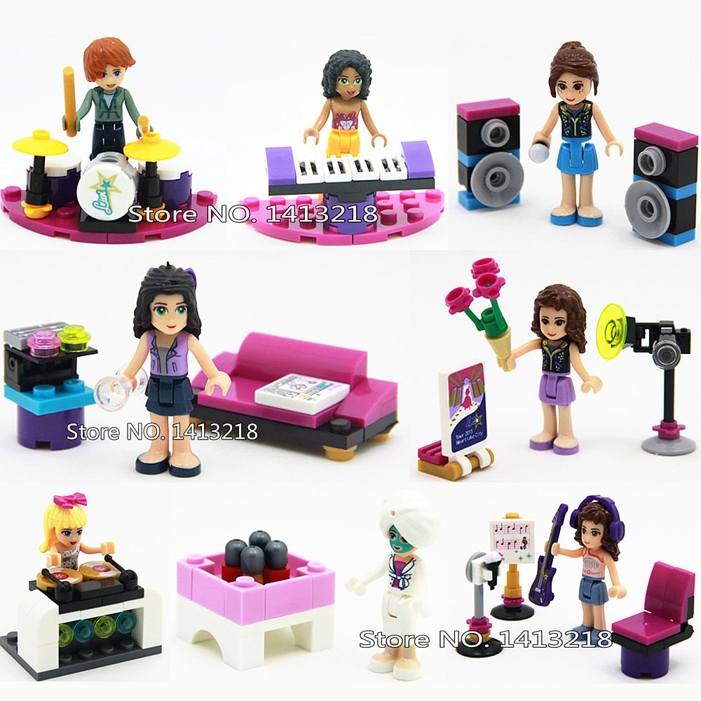 8pcs Music Girls Friends Princess Emma Mia Olive Andrea Mini Building Blocks Set Bricks Figures Gift Compatible Toy for Children 890pcs city police station building bricks blocks emma mia figure enlighten toy for children girls boys gift
