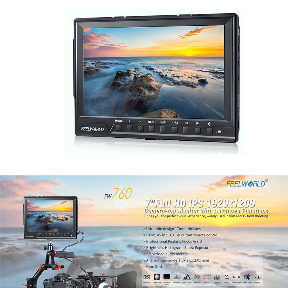 7'' FW-760 Full HD IPS 1920X1200 Slim Camera Video Monitor Display HDMI AV Input 1080P for Canon Nikon Sony DSLR BMPCC canon 6d dslr camera full frame 20 2mp 3 0 lcd full hd 1080p video wi fi body only brand new