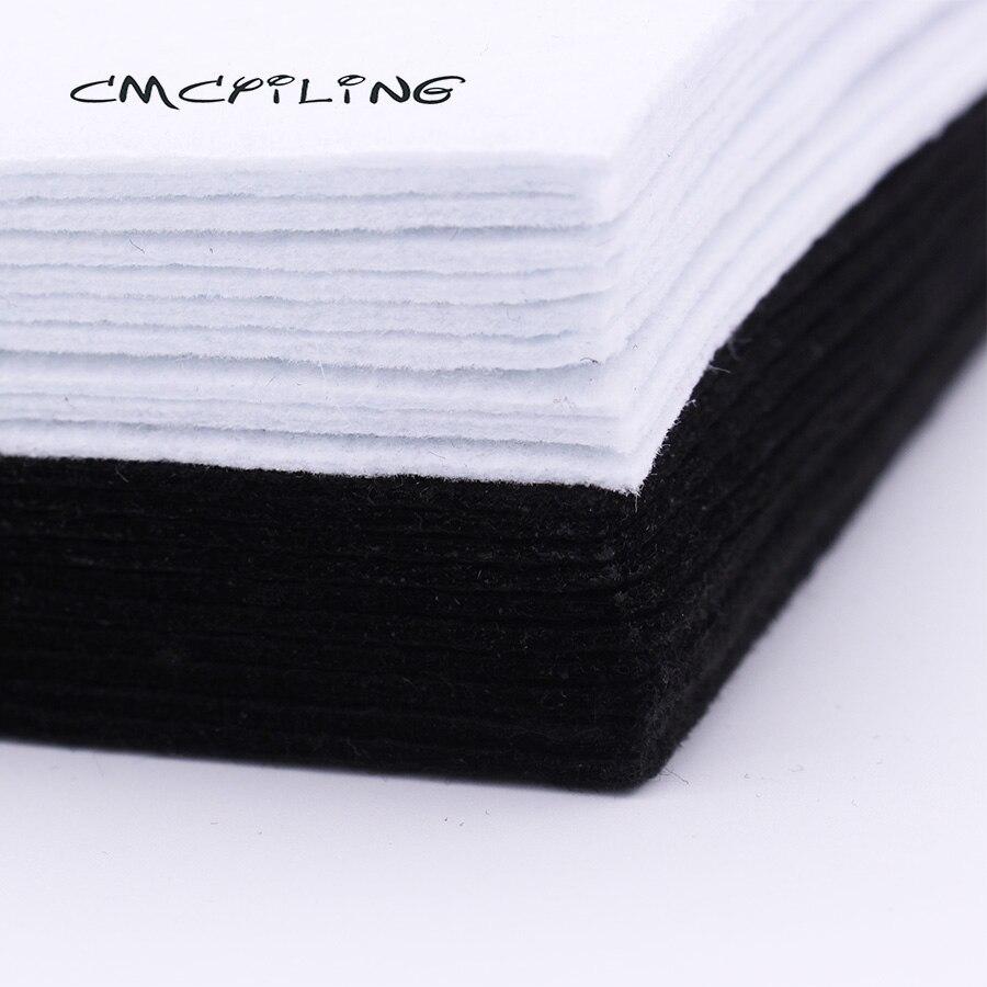 CMCYILING 10Pcs/Set 20*30cm White Black Felt 2 MM Thickness Polyester Cloth For DIY Sewing Crafts Scrapbook Felt Sheet Fabric