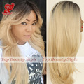 natural straight ombre wig synthetic lace front wigs black blonde mix hair natural hairline 150% density fashion for women