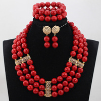 Charming Red Round Beads African Jewelry Sets Dubai Bridal Jewellery Set Big Beads Red Necklace Set QW1027