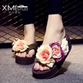 2017 Bohemia Flowers Woman Beach Flip Flops Summer Sandals Wedges Flip Flops Platform Shoes Women Summer Slippers Beach Shoes