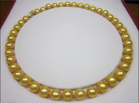 FREE SHIPPING>>18 INCH HUGE 10 11MM NATURAL SOUTH SEA GENUINE GOLDEN PEARL NECKLACE