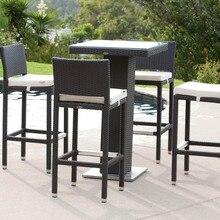 Торговая гарантия ручной работы плетеная синтетическая ротанговая садовая мебель Плетеный барный столик и стул набор