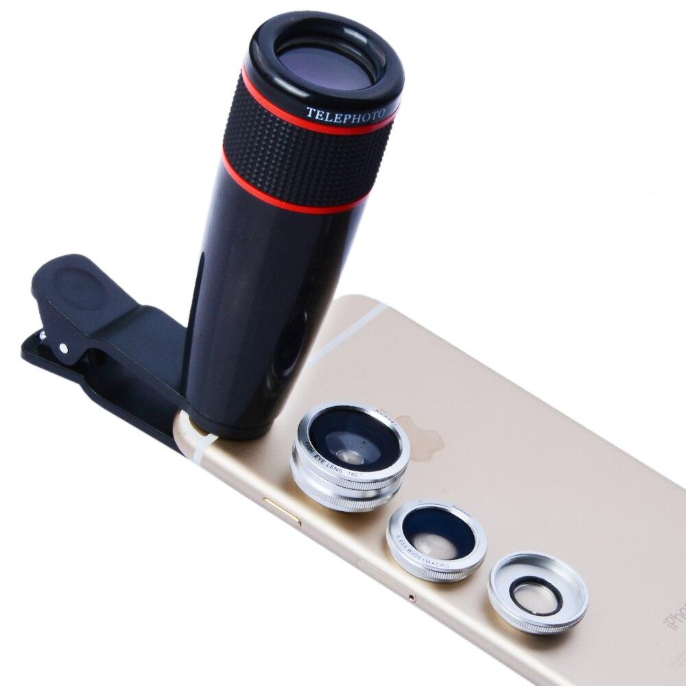 imágenes para 12X de Zoom Óptico de La Cámara Teleobjetivo Telescopio Del Teléfono 3 in1 Clip Kit de lentes de Gran Angular Ojo de Pez Macro para El Iphone 6 S Samsung 12CX3