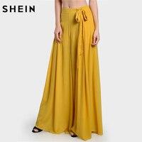 SHEIN Yüksek Bel Pantolon Sarı Kadınlar için Yaz Yan Kravat Pileli Culotte Pantolon Gevşek Pantolon İpli Bel Geniş Bacak Pantolon