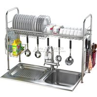 304 Steel Dish Rack Sink Drain Rack Kitchen storage organization plate display stand escurridor de platos de acero inoxidable