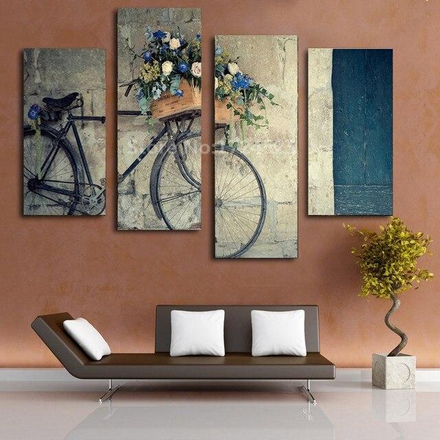 4 Pieces Canvas Painting Antique Home Decor Print Retro Bike Canvas ...