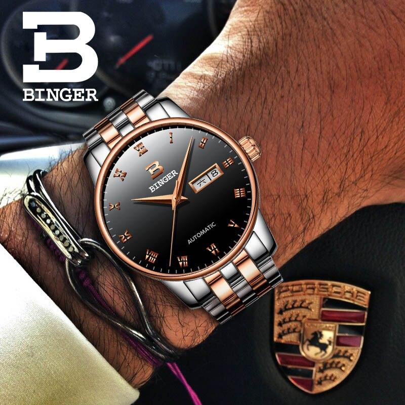 بينغر رقيقة جدا الساعات الرجال تصميم بسيط التلقائي الميكانيكية ووتش للماء روز الذهب ساعة من الفولاذ المقاوم للصدأ التقويم أسبوع-في الساعات الميكانيكية من ساعات اليد على  مجموعة 1