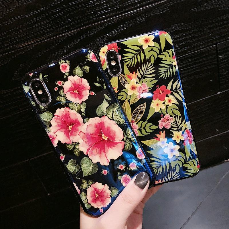 FUNM'OB Fashion Lovely Plumeria <font><b>Morning</b></font> <font><b>Glory</b></font> Blue Light <font><b>Blu-ray</b></font> Soft IMD Phone Case Cover for iPhone X 6 6S 7 8 Plus Capa Coque