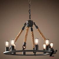 Replica item American Style country chanderliers 6 8 bulbs Edison iron Lamp Loft hemp rope free shipping