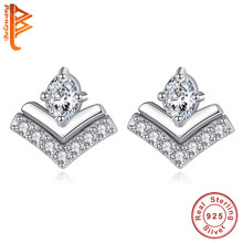 BELAWANG Authentic 100% 925 Sterling Silver Earrings Micro Pave Crystal Wish Stud Earrings for Women Wedding Fine Jewelry(China)