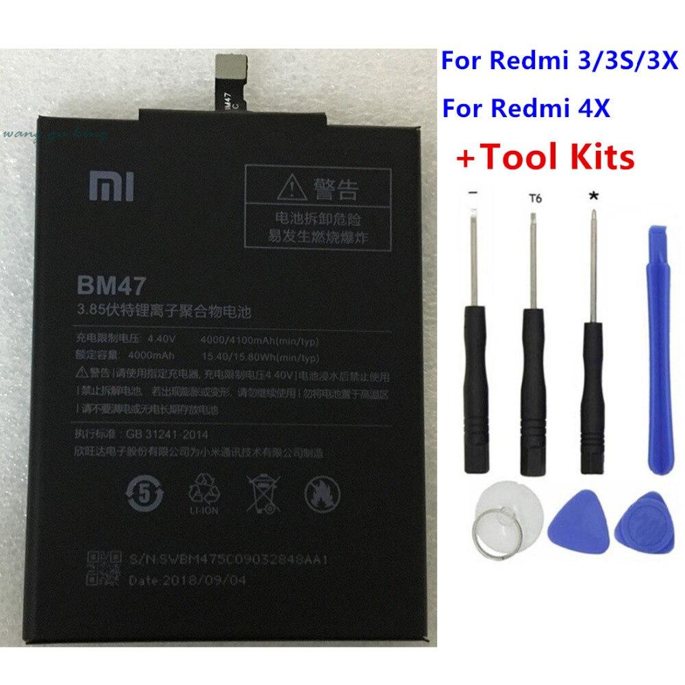 2018 Original nuevo 4000 mAh BM47 batería para Xiaomi Redmi 3 S Redmi 3X Redmi 4X Hongmi 3 S Redrice hongmi 3 batería Baterie + herramienta