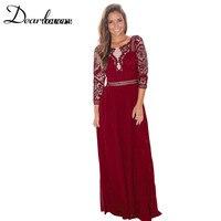 Dear Lovers Lace Maxi Dress 2017 Vestidos Vintage Women Party Long Dresses Quarter Sleeve Wedding Robe