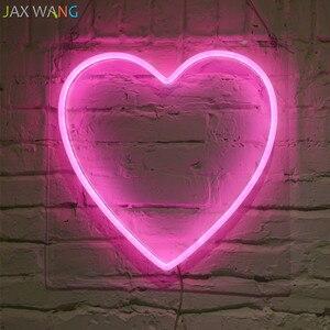 Image 2 - Led Ins props lights Clothing Store Studio decor neon night lights pink girl heart shape Hello neon decor light fixtures