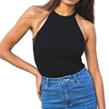 New 2016 Summer Women Sexy Sleeveless Fitness Blouse Vest Crop Tops Black Crochet Halter Bustier Bralette Tank Top Shirts Z1