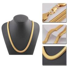 Gold Color 8mm Wide necklace Man jewelry female collarbone blade short chain Silver ornament Flat bone snake chain(China)