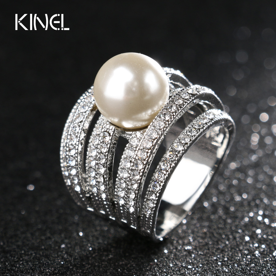 2017 Fashion Pearl Jewelry Wedding Rings For Women Unique Aaa Vintage  Crystal Ring Gift Free Shipping