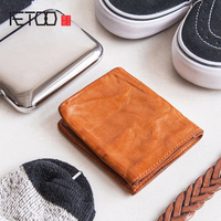 AETOO Handmade head cowhide Small Money Cilps men and women literature retro leather Short ticket clip