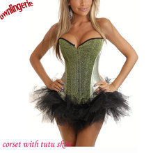 Hot light green stain seqin bustier corsets,women's clothing intimates shapers corsets lingerie tops with black tutu skirt w7061