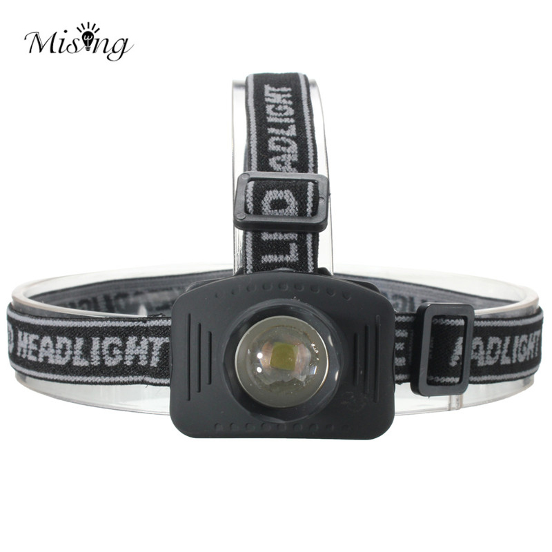MISING Mini LED Headlamp Zoom Adjustable Waterproof Headlights Flashlight Outdoor led Head Lamp Torch Fishing Lantern Light