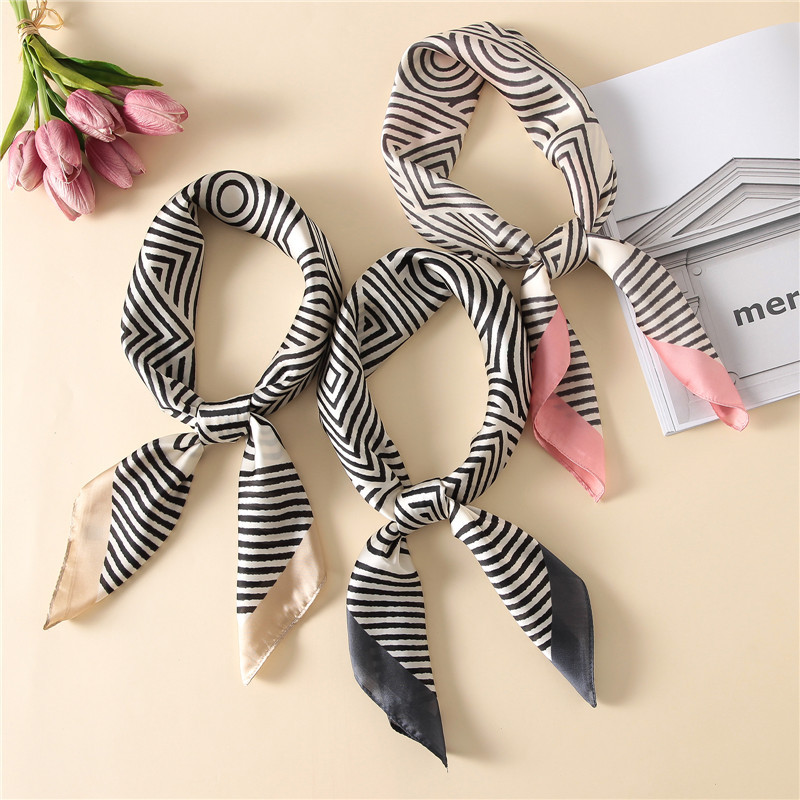 New Women   Scarf   Luxury Brand Striped Striped Print Hijab Pure Silk Shawl Scarfs Foulard Square Head   Scarves     Wraps   2017 NEW