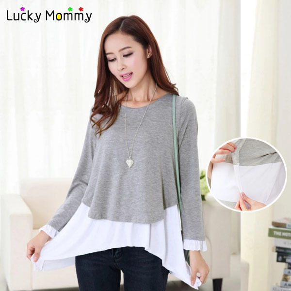 Spring Fall Maternity T-shirts for Pregnant Women Nursing Top Breastfeeding Tops Clothing for Feeding Maternity Nursing Clothes